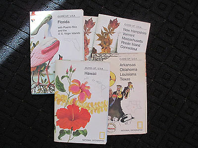 LOT OF 5 Vintage National Geographic Maps Hawaii New England Florida Puerto Rico