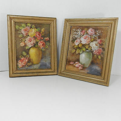 Antique Vintage Beautiful Pair Victorian Oil Paintings Still Life Vases Flowers