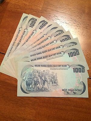 Lot of 10 pcs South Vietnam 1000 dong  P-34 (1972) CIRCULATED Elephant banknote