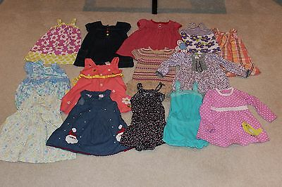 Lot of 14 Toddler Girls Dresses, Rompers, Tops Size 24 Months EUC