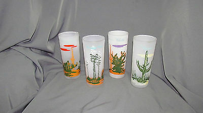 4 Vintage Blakely Oil Tall Frosted Arizona Cactus Glasses