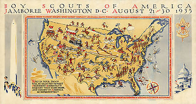 1935 Pictorial Map Boy Scouts America jamboree, Washington Wall Art Poster Decor