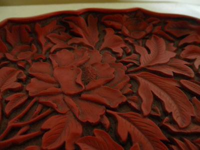 Chinese Cinnabar Lacquer Phoenix And Flowers Plate