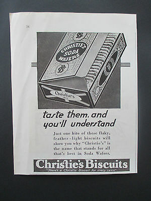 """Vintage 1938 Christie's Soda Wafers Biscuits Print Ad, 7"""" X 5.5"""""""