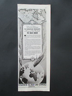 """Vintage 1938 Canada Department of Trade & Commerce Print Ad, 14"""" X 5.25"""""""