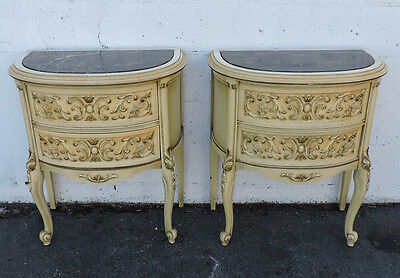 Pair of French Marble Top Tall Commode Nightstands End Side Tables 8173