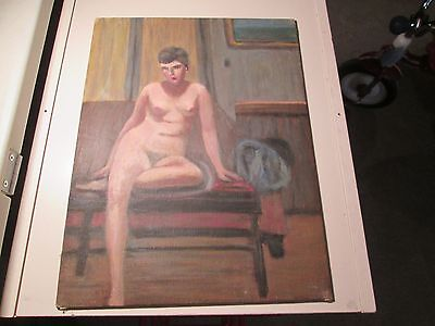 1930's Nude Woman Oil On Board Painting Signed Michelle Cafarelli 16 X 12 B106