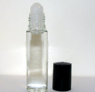Lot of 2 Empty roll-on perfume bottles - 10 ml 1/3 oz - clear glass