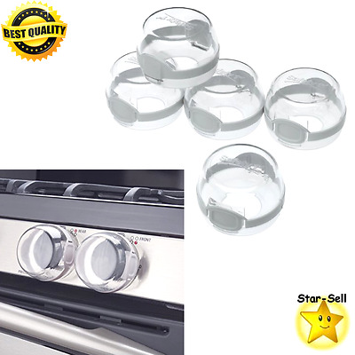Clear View Stove Knob Covers 5 Count Kids Baby Safety Gear Locks Kitchen Decor
