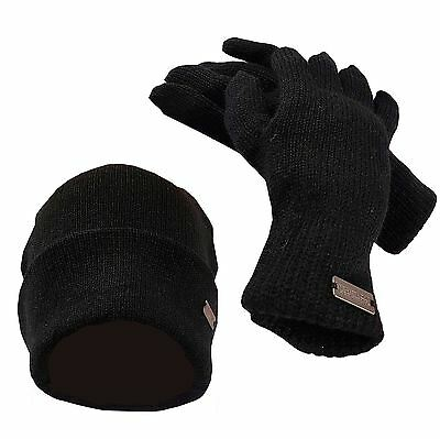Mens Regatta Wodman Hat & Glove Classic Rib-Knit Winter Set (Beanie & Gloves)