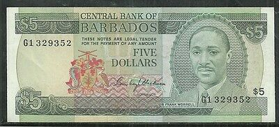 BARBADOS $5 DOLLARS P.32a (AU) FROM 19.