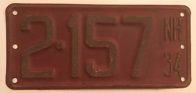 1934 New Hampshire Boat License Plate All Original Paint Small Motorcycle Sized