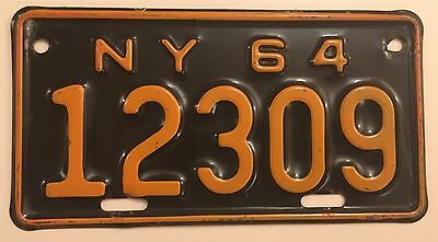 1964 New York Motorcycle License Plate VG+ Glossy Nice!! YOM Triumph Harley BMW