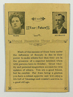 Vintage Astrology Future Card Fortune Telling Horoscope, Influence of Scorpio