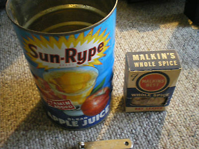 vintage sun rype apple juice tin malkins spice box + sun rype can opener lot