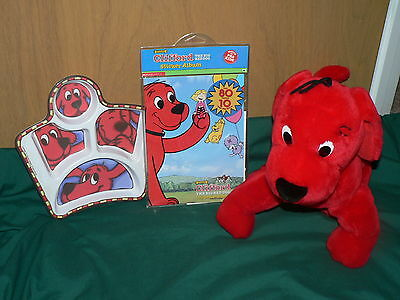 Clifford the Big Red Dog plush stuffed animal - divided plate dish & stickers
