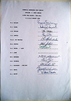 ENGLAND v WEST INDIES 1988, 5th TEST MATCH – CRICKET OFFICIAL AUTOGRAPH SHEET