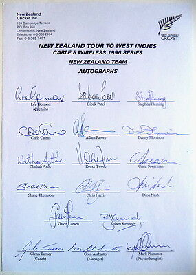 New Zealand To West Indies 1996 Cricket Autograph Sheet