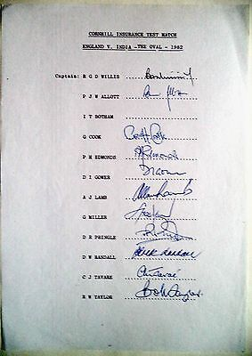 ENGLAND v INDIA 1982 CORNHILL INSURANCE TEST SERIES CRICKET OFFICIAL AUTOGRAPHS