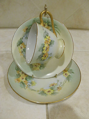 Translucent Bone China Hand-Painted Tea Cup and Saucer Dessert Plate 3 Pc.