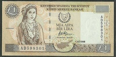 CYPRUS $1 POUND P.60b (UNC) FROM 1998.
