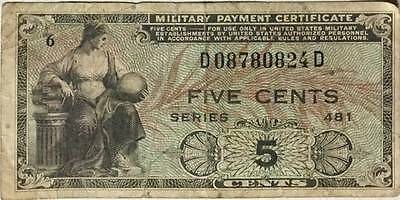 MPC Series 481 .05 Cents (Woman/Eagle) Circulated First Issued in 1951