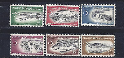 Canal Zone Air Mail Stamps 1964 #c36-C41 - Mint And Used Cv $11.55