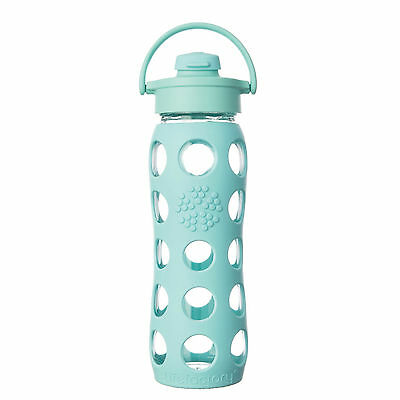 LifeFactory 22oz Glass Bottle with Flip Cap and Turquoise Silicone Sleeve Water