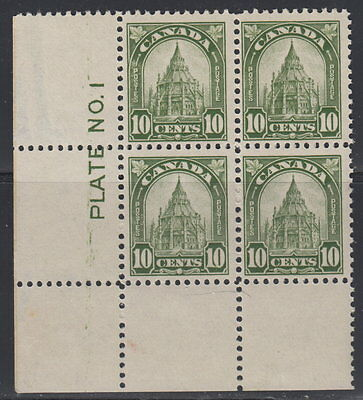 Canada #173 10¢ Library of Parliament LL Plate Block Mint Gum Damaged