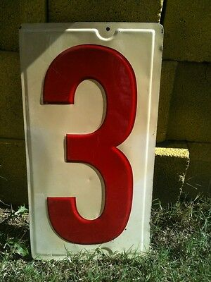 """Texaco Metal Gas Station Price Sign Number """"3"""" Embossed 10'' x 19''  1950's"""