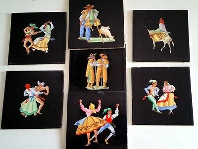 "7 Vintage Hand painted Tiles from Portugal by Aleluia Aveiro 4"" Dancers Farmers"