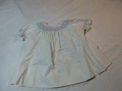 Vintage Girl Dress Peasant Blouse With Embroidered Smocked Neckline