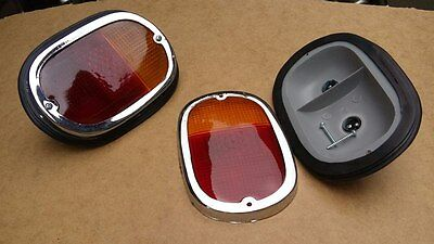 VW TYPE 2 BUS 1962-1971 TAIL LIGHT COMPLETE ASSEMBLY W/AMBER RED LENS 1pc