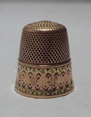 Antique 10K Yellow & Rose Gold Thimble Size 8 Anchor Mark Monogrammed