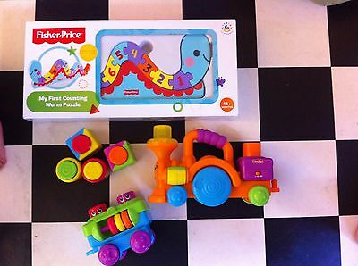 Fisher Price toy bundle - Musical train and wooden puzzle