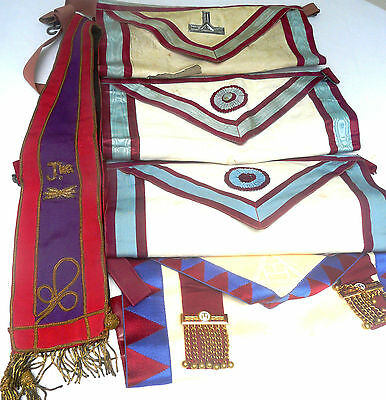 Four Very Old Vintage Grand Mason Aprons + Collar