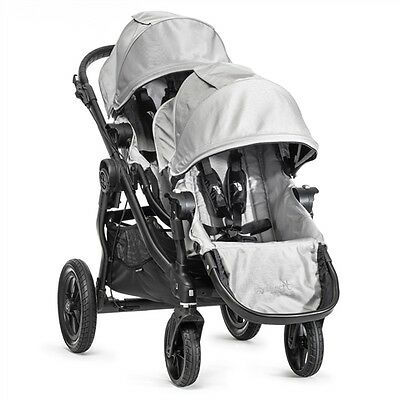 Baby Jogger City Select Silver Double Stroller with Bassinet & all accessories