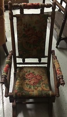 Antique Platform Spring Rocking Chair Wood Tapestry Upholstered 1880's