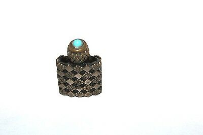Vintage Antique Perfume Bottle Miniture France Turquoise Top Silver Early 1900's