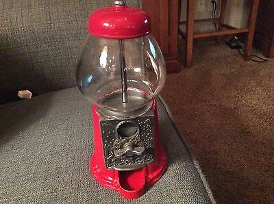 """Vintage Carousel 9"""" small gumball machine Red"""