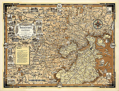 1938 Pictorial Wall Map Boston Massachusetts and Vicinity Art Poster History