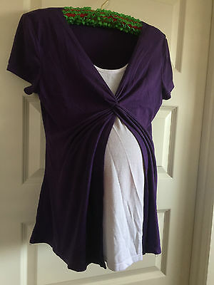 *.*  Purple and White Short Sleeved Maternity Top - Size M *.*
