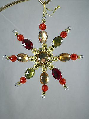 Red Green and Gold Beaded Snowflake Christmas Tree Ornament new holiday