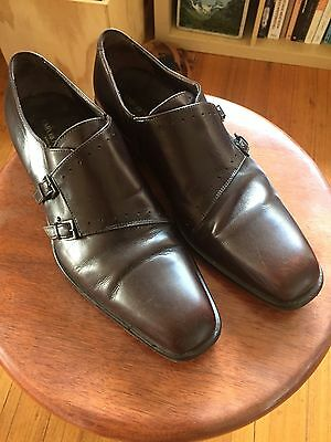 Emporio Armani Mens Leather Buckle Shoes Size 41