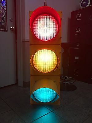 """Retired Traffic Signal Light Red,Yellow,Green 12"""" Wired LED W/ Hanger ECONOLITE"""