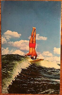 Greetings from Lewes DE Delaware Surfer Doing Handstand on Surfboard Surfing