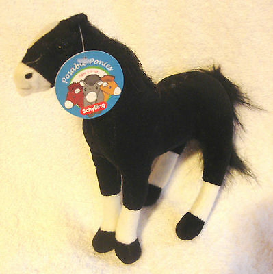 Posable Plush Pony Schylling Ponies 8 inch Arabian Horse Black White Shoes