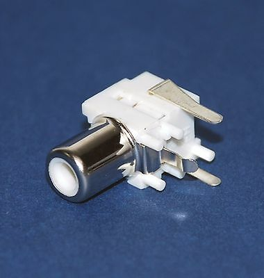 10pc RCA Jack Female Connector + Switch PCB pin Nickel Plated RJ-2021-L White