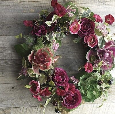 "RAZ Imports 22"" CABBAGE AND ROSE WREATH ~ Easter Spring"