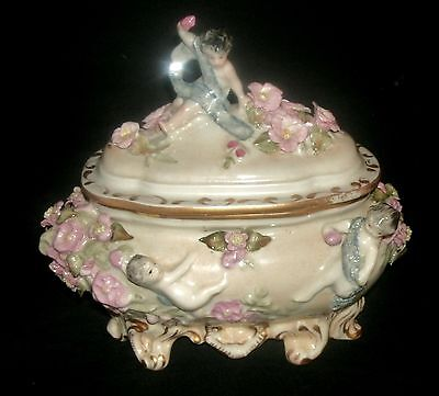 Antique Cordey Cybis Footed Porcelain Cherub Vanity Powder Box Casket Figurine